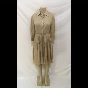 Ellen Tracy Size 4 Khaki Color Shirt Dress